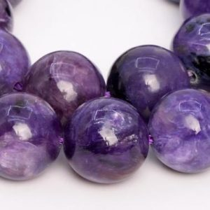 Shop Charoite Round Beads! 15 Pcs – 13MM Deep Color Charoite Beads Russia Grade A+ Genuine Natural Round Gemstone Loose Beads (108985) | Natural genuine round Charoite beads for beading and jewelry making.  #jewelry #beads #beadedjewelry #diyjewelry #jewelrymaking #beadstore #beading #affiliate #ad
