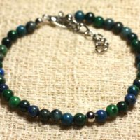 Bracelet 925 Sterling Silver And Semi Precious Chrysocolla 4 Mm | Natural genuine Gemstone jewelry. Buy crystal jewelry, handmade handcrafted artisan jewelry for women.  Unique handmade gift ideas. #jewelry #beadedjewelry #beadedjewelry #gift #shopping #handmadejewelry #fashion #style #product #jewelry #affiliate #ad