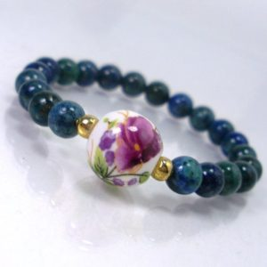 Shop Chrysocolla Bracelets! Chrysocolla Children's Bracelet + Porcelain bead with painted Flowers, Natural Gemstone Bracelet for Girl, Gift for Children +Gift Bag | Natural genuine Chrysocolla bracelets. Buy crystal jewelry, handmade handcrafted artisan jewelry for women.  Unique handmade gift ideas. #jewelry #beadedbracelets #beadedjewelry #gift #shopping #handmadejewelry #fashion #style #product #bracelets #affiliate #ad