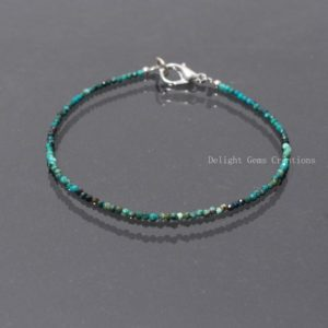 Shop Chrysocolla Bracelets! Natural Chrysocolla Beaded Bracelet, 2mm Blue-Green Chrysocolla Micro Faceted Round Beads Bracelet, Women's-Girls Faceted Tiny Bead Bracelet | Natural genuine Chrysocolla bracelets. Buy crystal jewelry, handmade handcrafted artisan jewelry for women.  Unique handmade gift ideas. #jewelry #beadedbracelets #beadedjewelry #gift #shopping #handmadejewelry #fashion #style #product #bracelets #affiliate #ad