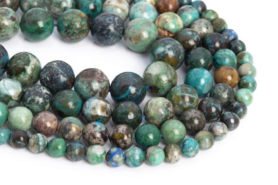 Genuine Natural Chrysocolla Loose Beads Grade Aa Round Shape 7mm 8mm