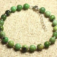 Bracelet 925 Sterling Silver And Stone – Chrysoprase 6mm | Natural genuine Gemstone jewelry. Buy crystal jewelry, handmade handcrafted artisan jewelry for women.  Unique handmade gift ideas. #jewelry #beadedjewelry #beadedjewelry #gift #shopping #handmadejewelry #fashion #style #product #jewelry #affiliate #ad