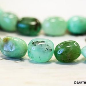 Shop Chrysoprase Chip & Nugget Beads! M/ Chrysoprase 13x18mm Tumbled Nugget loose Beads 15.5 inches long Strand | Natural genuine chip Chrysoprase beads for beading and jewelry making.  #jewelry #beads #beadedjewelry #diyjewelry #jewelrymaking #beadstore #beading #affiliate #ad