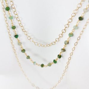 Shop Chrysoprase Jewelry! Gold Green Chrysoprase Necklace, Long Bib Necklace, Statement Necklace | Natural genuine Chrysoprase jewelry. Buy crystal jewelry, handmade handcrafted artisan jewelry for women.  Unique handmade gift ideas. #jewelry #beadedjewelry #beadedjewelry #gift #shopping #handmadejewelry #fashion #style #product #jewelry #affiliate #ad