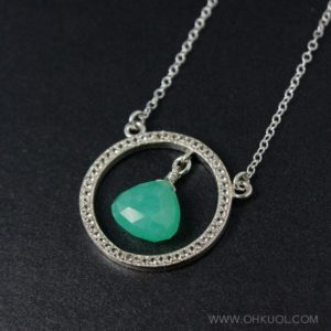 Shop Chrysoprase Pendants! Silver Mint Green Chrysoprase Necklace, Hoop Pendant, 925 Silver | Natural genuine Chrysoprase pendants. Buy crystal jewelry, handmade handcrafted artisan jewelry for women.  Unique handmade gift ideas. #jewelry #beadedpendants #beadedjewelry #gift #shopping #handmadejewelry #fashion #style #product #pendants #affiliate #ad
