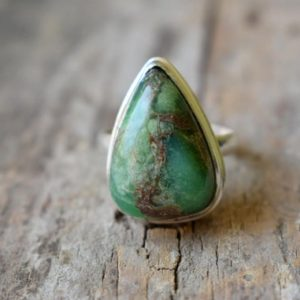 Shop Chrysoprase Rings! chrysoprase gemstone ring/Statement Ring/ 925 Sterling Silver Ring/ Gifts for her/ Birthstone Jewelry/ Handmade Ring/ Boho Rings #B298 | Natural genuine Chrysoprase rings, simple unique handcrafted gemstone rings. #rings #jewelry #shopping #gift #handmade #fashion #style #affiliate #ad