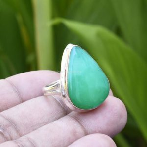 Shop Chrysoprase Rings! Natural Chrysoprase Ring, 925 Sterling Silver Ring, Green Chrysoprase Pear Ring, Handmade Ring, Gemstone Ring, Silver Ring, Size 9 US, Etsy | Natural genuine Chrysoprase rings, simple unique handcrafted gemstone rings. #rings #jewelry #shopping #gift #handmade #fashion #style #affiliate #ad