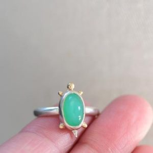 Shop Chrysoprase Rings! Chrysoprase Silver Ring. Mixed Metal Gemstone Ring. Green Stone Silver Ring. Turtle Lover. Sterling Silver 14k Gold. Valentines Day Gift | Natural genuine Chrysoprase rings, simple unique handcrafted gemstone rings. #rings #jewelry #shopping #gift #handmade #fashion #style #affiliate #ad