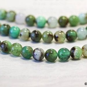 """Shop Chrysoprase Round Beads! M/ Chrysoprase 12mm/ 10mm/ 8mm Smooth Round Beads 15.5"""" strand Natural Australia Chrysoprase Beads For Jewelry Making 