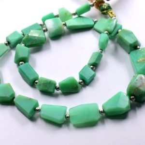 "Shop Chrysoprase Chip & Nugget Beads! Chrysoprase Tumble Faceted Beads Nugget Shape Size 16X25 To 7X14 MM 17""Inches Natural Chrysoprase Gemstone Wholesale Price 