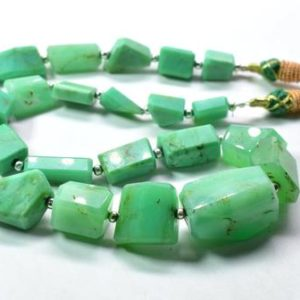 "Shop Chrysoprase Chip & Nugget Beads! Chrysoprase Tumble Shape Faceted Nugget Beads 7×14.MM Approx 17"" Inches Natural Top Quality Wholesaler Price. 