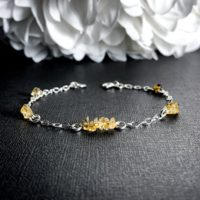 Citrine Crystal Satellite Chain Anklet Birthstone Bracelet | Natural genuine Gemstone jewelry. Buy crystal jewelry, handmade handcrafted artisan jewelry for women.  Unique handmade gift ideas. #jewelry #beadedjewelry #beadedjewelry #gift #shopping #handmadejewelry #fashion #style #product #jewelry #affiliate #ad