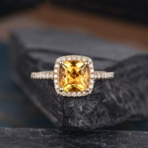 Shop Citrine Rings! Citrine Engagement Ring Yellow Gold Cushion Cut Women Diamond Birthstone Halo Half Eternity Anniversary Gift Ring Promise Wedding Bridal | Natural genuine Citrine rings, simple unique alternative gemstone engagement rings. #rings #jewelry #bridal #wedding #jewelryaccessories #engagementrings #weddingideas #affiliate #ad