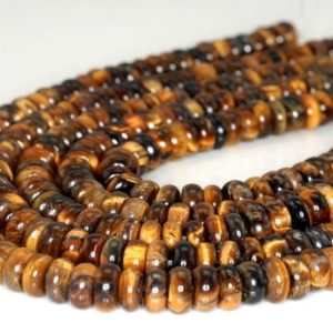 Shop Tiger Eye Rondelle Beads! Cognac Tiger Eye Gemstone Rondelle 8x4MM Loose Beads 7.5 inch Half Strand (90191786-B67) | Natural genuine rondelle Tiger Eye beads for beading and jewelry making.  #jewelry #beads #beadedjewelry #diyjewelry #jewelrymaking #beadstore #beading #affiliate #ad