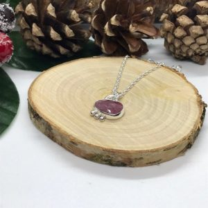 Shop Pink Sapphire Necklaces! Deep Pink Sapphire Necklace, Sterling Silver   Natural genuine Pink Sapphire necklaces. Buy crystal jewelry, handmade handcrafted artisan jewelry for women.  Unique handmade gift ideas. #jewelry #beadednecklaces #beadedjewelry #gift #shopping #handmadejewelry #fashion #style #product #necklaces #affiliate #ad
