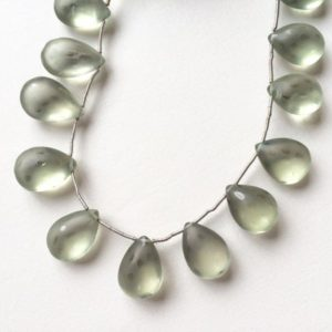 Shop Green Amethyst Beads! Designer Frosted Green Amethyst Prasiolite Polka Dot Smooth Briolettes Teardrops One Strand K1832 | Natural genuine other-shape Green Amethyst beads for beading and jewelry making.  #jewelry #beads #beadedjewelry #diyjewelry #jewelrymaking #beadstore #beading #affiliate #ad