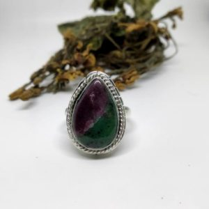 Shop Ruby Zoisite Jewelry! Designer Ruby Zoisite Ring, 925 Sterling Silver Ring, Silver Band Ring, Pear Stone Ring, 925 Silver Ring, Gemstone Ring, Gift | Natural genuine Ruby Zoisite jewelry. Buy crystal jewelry, handmade handcrafted artisan jewelry for women.  Unique handmade gift ideas. #jewelry #beadedjewelry #beadedjewelry #gift #shopping #handmadejewelry #fashion #style #product #jewelry #affiliate #ad