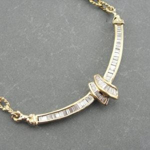 Shop Diamond Necklaces! Contemporary Baguette Cut Diamond and 18K Yellow Gold Necklace V86AFL-R   Natural genuine Diamond necklaces. Buy crystal jewelry, handmade handcrafted artisan jewelry for women.  Unique handmade gift ideas. #jewelry #beadednecklaces #beadedjewelry #gift #shopping #handmadejewelry #fashion #style #product #necklaces #affiliate #ad