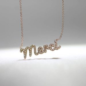 """Shop Diamond Necklaces! Diamond Pave """"Merci"""" Necklace   Natural genuine Diamond necklaces. Buy crystal jewelry, handmade handcrafted artisan jewelry for women.  Unique handmade gift ideas. #jewelry #beadednecklaces #beadedjewelry #gift #shopping #handmadejewelry #fashion #style #product #necklaces #affiliate #ad"""