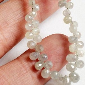 Shop Diamond Bead Shapes! 2×2.5mm-2x3mm White Diamond Faceted Briolette Beads, Natural Sparkling Rough Diamond Tear Drops, Diamond Drops For Jewelry (2Pcs To 10Pcs) | Natural genuine other-shape Diamond beads for beading and jewelry making.  #jewelry #beads #beadedjewelry #diyjewelry #jewelrymaking #beadstore #beading #affiliate #ad