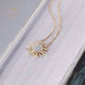 Solid 14K Yellow Gold Diamond Pendant necklace Wedding Sun Unique Charm Necklaces Micro Pave Antique unique Anniversary | Natural genuine Diamond pendants. Buy handcrafted artisan wedding jewelry.  Unique handmade bridal jewelry gift ideas. #jewelry #beadedpendants #gift #crystaljewelry #shopping #handmadejewelry #wedding #bridal #pendants #affiliate #ad