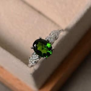 Shop Diopside Rings! Chrome diopside ring, oval cut, silver, promise, engagement ring | Natural genuine Diopside rings, simple unique alternative gemstone engagement rings. #rings #jewelry #bridal #wedding #jewelryaccessories #engagementrings #weddingideas #affiliate #ad