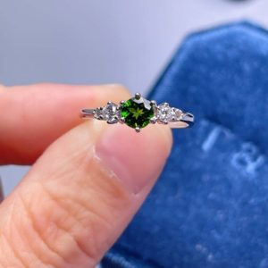 Genuine Round Diopside Ring, Gemstone Ring, Art Deco Ring, Green Gemstone Ring, Engagement Wedding Ring, Simple Ring, Gift for Her, Mom Ring   Natural genuine Gemstone rings, simple unique alternative gemstone engagement rings. #rings #jewelry #bridal #wedding #jewelryaccessories #engagementrings #weddingideas #affiliate #ad