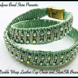 Shop Jewelry Making Kits! Double Wrap Leather Cup Chain and SilverSilk Bracelet Kit!  So many colors to choose from! | Shop jewelry making and beading supplies, tools & findings for DIY jewelry making and crafts. #jewelrymaking #diyjewelry #jewelrycrafts #jewelrysupplies #beading #affiliate #ad