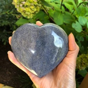 Shop Dumortierite Stones & Crystals! Dumortierite in quartz heart WS7549 427g | Natural genuine stones & crystals in various shapes & sizes. Buy raw cut, tumbled, or polished gemstones for making jewelry or crystal healing energy vibration raising reiki stones. #crystals #gemstones #crystalhealing #crystalsandgemstones #energyhealing #affiliate #ad