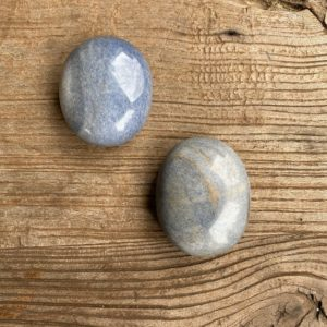 Shop Dumortierite Stones & Crystals! Dumortierite in quartz palm stones WS7698A and WS7698B | Natural genuine stones & crystals in various shapes & sizes. Buy raw cut, tumbled, or polished gemstones for making jewelry or crystal healing energy vibration raising reiki stones. #crystals #gemstones #crystalhealing #crystalsandgemstones #energyhealing #affiliate #ad