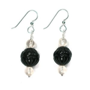 Shop Jet Earrings! DVH Genuine Jet Mourning Jewelry Earrings Oregon Sunstone Large | Natural genuine Jet earrings. Buy crystal jewelry, handmade handcrafted artisan jewelry for women.  Unique handmade gift ideas. #jewelry #beadedearrings #beadedjewelry #gift #shopping #handmadejewelry #fashion #style #product #earrings #affiliate #ad