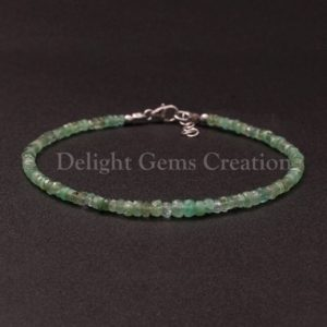 Shop Emerald Bracelets! Emerald Beaded Bracelet, 3-3.5mm Emerald Faceted Rondelle Beads Bracelet, 18 Cts./ Delicate Natural Green Emerald Gemstone Bracelet Jewelry   Natural genuine Emerald bracelets. Buy crystal jewelry, handmade handcrafted artisan jewelry for women.  Unique handmade gift ideas. #jewelry #beadedbracelets #beadedjewelry #gift #shopping #handmadejewelry #fashion #style #product #bracelets #affiliate #ad