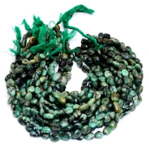 Shop Emerald Chip & Nugget Beads! Emerald Gemstone 10mm-12mm Nuggets Beads | 13inch Strand | AAA Precious Green Emerald Gemstone Smooth Oval Tumbled Beads for Jewelry Making | Natural genuine chip Emerald beads for beading and jewelry making.  #jewelry #beads #beadedjewelry #diyjewelry #jewelrymaking #beadstore #beading #affiliate #ad