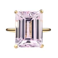 Emerald Cut Kunzite Engagement Ring / Pink Kunzite Wedding Ring For Woman / Kunzite Ring 14k Gold / Pink Gemstone Ring / valentines Gift Ring | Natural genuine Gemstone jewelry. Buy handcrafted artisan wedding jewelry.  Unique handmade bridal jewelry gift ideas. #jewelry #beadedjewelry #gift #crystaljewelry #shopping #handmadejewelry #wedding #bridal #jewelry #affiliate #ad
