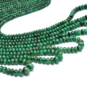 Shop Emerald Rondelle Beads! Natural Green Emerald Gemstone Smooth Rondelle Beads | 17inch Strand | Emerald Precious Gemstone 3mm-6mm Beads Strand for Jewelry Making | Natural genuine rondelle Emerald beads for beading and jewelry making.  #jewelry #beads #beadedjewelry #diyjewelry #jewelrymaking #beadstore #beading #affiliate #ad