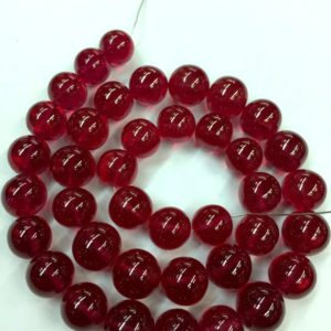 Shop Ruby Round Beads! Extremely Rare–Smooth Polished Ruby Corundum Smooth Round Beads 10.MM Ruby Gemstone Necklace Ruby Jewelry Beads~~Gift For Mother | Natural genuine round Ruby beads for beading and jewelry making.  #jewelry #beads #beadedjewelry #diyjewelry #jewelrymaking #beadstore #beading #affiliate #ad
