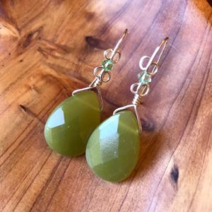 Shop Serpentine Earrings! Faceted Teardrop Serpentine Earrings, Green Drop Earrings, Green Swarovski Accent Earrings, Gift For Her, Silver Scroll Ear Wires | Natural genuine Serpentine earrings. Buy crystal jewelry, handmade handcrafted artisan jewelry for women.  Unique handmade gift ideas. #jewelry #beadedearrings #beadedjewelry #gift #shopping #handmadejewelry #fashion #style #product #earrings #affiliate #ad