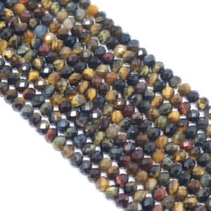 Shop Tiger Eye Rondelle Beads! Faceted Tiger Eye Rondelle Bead Strand (15.5 Inches Long) | Natural genuine rondelle Tiger Eye beads for beading and jewelry making.  #jewelry #beads #beadedjewelry #diyjewelry #jewelrymaking #beadstore #beading #affiliate #ad