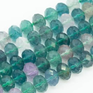 Shop Fluorite Faceted Beads! Genuine Natural Multicolor Fluorite Loose Beads Grade AAA Faceted Rondelle Shape 6x4mm 8x6mm | Natural genuine faceted Fluorite beads for beading and jewelry making.  #jewelry #beads #beadedjewelry #diyjewelry #jewelrymaking #beadstore #beading #affiliate #ad