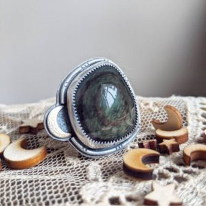 Shop Rainbow Obsidian Rings! Galaxy Statement Ring #1 // rainbow obsidian, moon, space cadet | Natural genuine Rainbow Obsidian rings, simple unique handcrafted gemstone rings. #rings #jewelry #shopping #gift #handmade #fashion #style #affiliate #ad