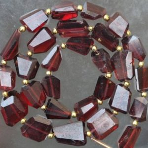 Shop Garnet Chip & Nugget Beads! 28 piece Natural gemstone faceted GARNET nugget Beads Size 9 — 12 mm approx | Natural genuine chip Garnet beads for beading and jewelry making.  #jewelry #beads #beadedjewelry #diyjewelry #jewelrymaking #beadstore #beading #affiliate #ad