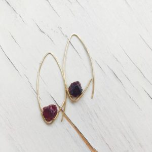 Garnet Endless Hoop Raw Garnet Earring Gemstone Jewelry Garnet Hoop | Natural genuine Gemstone earrings. Buy crystal jewelry, handmade handcrafted artisan jewelry for women.  Unique handmade gift ideas. #jewelry #beadedearrings #beadedjewelry #gift #shopping #handmadejewelry #fashion #style #product #earrings #affiliate #ad