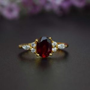 Garnet Engagement Ring, Oval Cut Natural Red Garnet Ring, January Birthstone Ring, Boho Garnet Wedding Ring, Marquise Ring, 14k Gold Ring | Natural genuine Array rings, simple unique alternative gemstone engagement rings. #rings #jewelry #bridal #wedding #jewelryaccessories #engagementrings #weddingideas #affiliate #ad