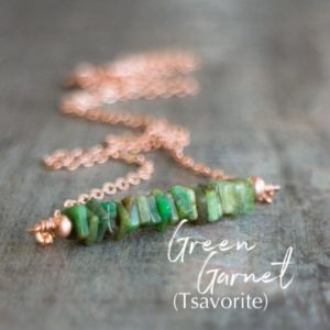 Shop Garnet Necklaces! Green Garnet Necklace, Tsavorite Garnet Necklace, January Birthstone Necklace, Birthday Gifts for Her, Gemstone Bar Necklace | Natural genuine Garnet necklaces. Buy crystal jewelry, handmade handcrafted artisan jewelry for women.  Unique handmade gift ideas. #jewelry #beadednecklaces #beadedjewelry #gift #shopping #handmadejewelry #fashion #style #product #necklaces #affiliate #ad