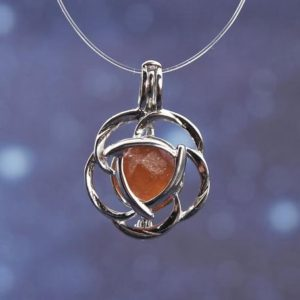 Shop Garnet Pendants! Spessartine Garnet Sterling Silver Floral Enclosure Gaian Crystal Pendant | Natural genuine Garnet pendants. Buy crystal jewelry, handmade handcrafted artisan jewelry for women.  Unique handmade gift ideas. #jewelry #beadedpendants #beadedjewelry #gift #shopping #handmadejewelry #fashion #style #product #pendants #affiliate #ad