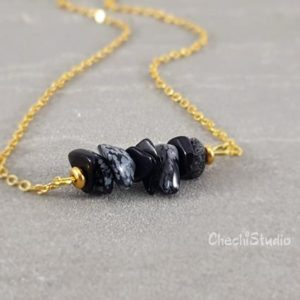 Shop Snowflake Obsidian Necklaces! Gemstone Necklace, Snowflake Obsidian Necklace, Beaded Bar Necklace, Layering Necklace, Heart Chakra Necklace, Gift for Her, Bridesmaid Gift | Natural genuine Snowflake Obsidian necklaces. Buy crystal jewelry, handmade handcrafted artisan jewelry for women.  Unique handmade gift ideas. #jewelry #beadednecklaces #beadedjewelry #gift #shopping #handmadejewelry #fashion #style #product #necklaces #affiliate #ad