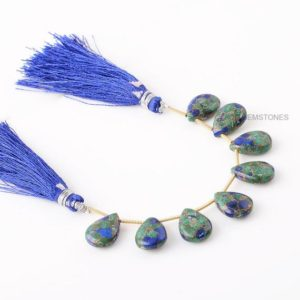 Shop Azurite Bead Shapes! Genuine Side Drilled Copper Azurite Beads Briolette Semiprecious Gemstone Pear Beads, Half Strand 4 Inches 10x14mm Pear Azurite Beads -8 Pcs | Natural genuine other-shape Azurite beads for beading and jewelry making.  #jewelry #beads #beadedjewelry #diyjewelry #jewelrymaking #beadstore #beading #affiliate #ad