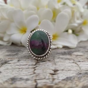 Shop Ruby Zoisite Rings! Gift Ruby Zoisite Ring, Red Gemstone, 925 Sterling Silver, Oval Shape, Sterling Silver Ring, Handmade Ring, Gift For Her, Simple Band Ring | Natural genuine Ruby Zoisite rings, simple unique handcrafted gemstone rings. #rings #jewelry #shopping #gift #handmade #fashion #style #affiliate #ad