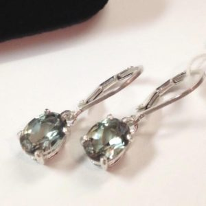 BEAUTIFUL 2.3ctw Pale Green Amethyst Quartz Sterling Silver Leverback Earrings Gift Jewelry Trends Trending Oval Cut Green Amethyst Earrings | Natural genuine Green Amethyst earrings. Buy crystal jewelry, handmade handcrafted artisan jewelry for women.  Unique handmade gift ideas. #jewelry #beadedearrings #beadedjewelry #gift #shopping #handmadejewelry #fashion #style #product #earrings #affiliate #ad