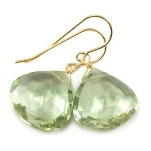 Shop Green Amethyst Earrings! Green Prasiolite Earrings Amethyst Faceted X Large Heart Teardrop Sterling Silver or 14k Yellow Gold or 14k Gold Filled Natural Soft Simple   Natural genuine Green Amethyst earrings. Buy crystal jewelry, handmade handcrafted artisan jewelry for women.  Unique handmade gift ideas. #jewelry #beadedearrings #beadedjewelry #gift #shopping #handmadejewelry #fashion #style #product #earrings #affiliate #ad